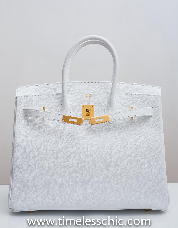 hermes travel bag - Birkin 35cm Blanc White Epsom with Gold Hardware R Stamp ...