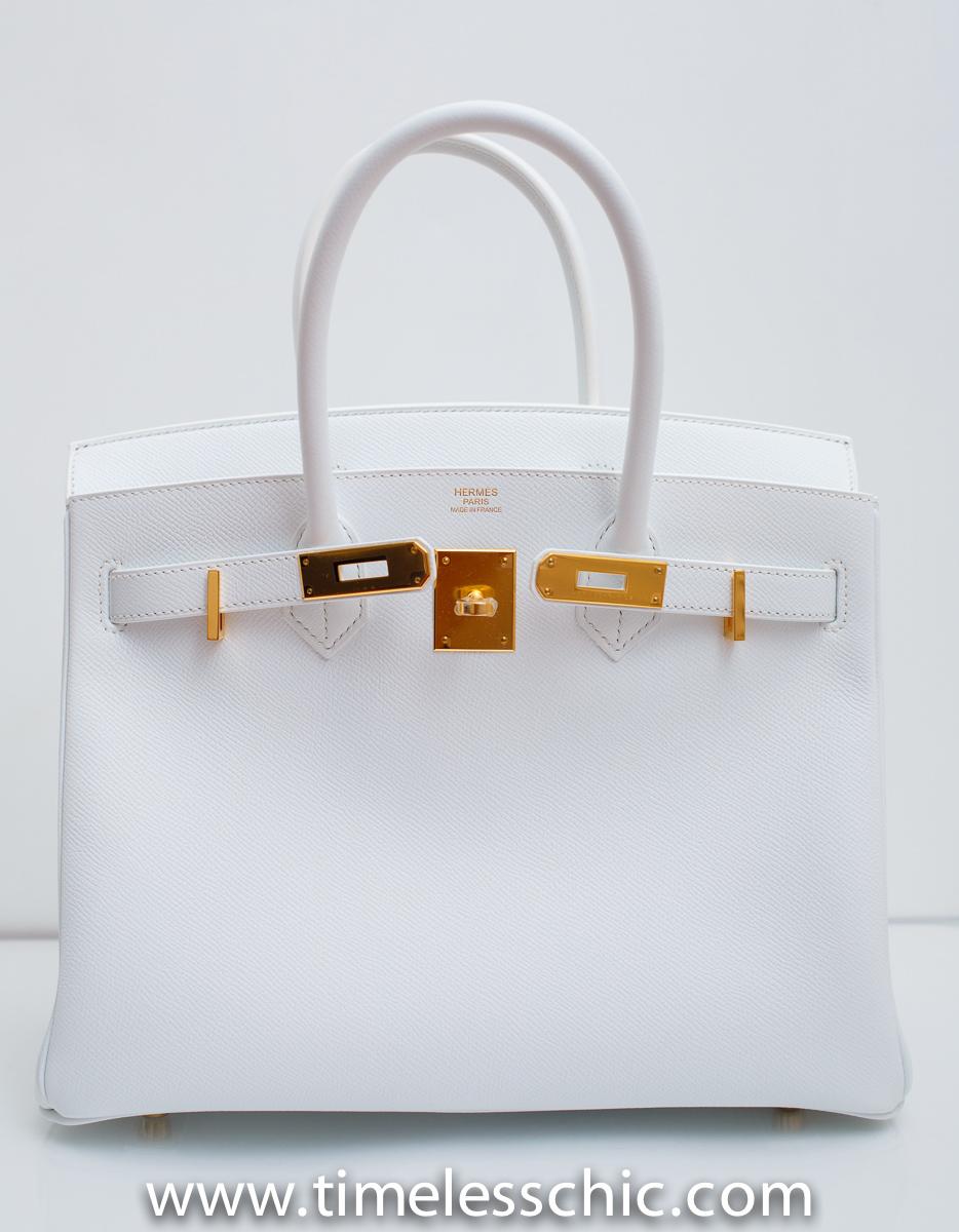 Birkin 30cm Blanc White Epsom with Gold Hardware R Stamp | TIMELESS CHIC